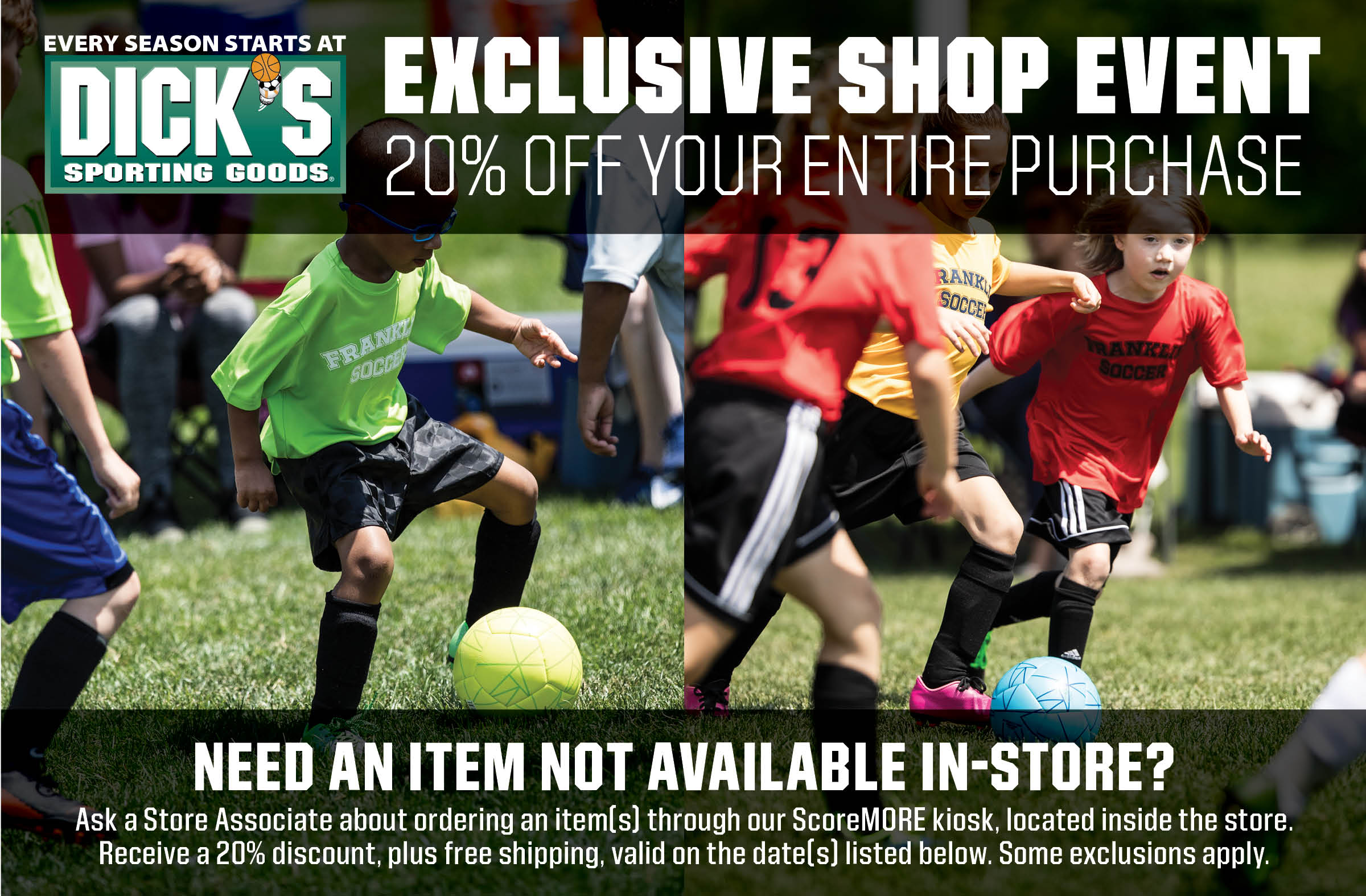 Dick's Sporting Goods Rainbow Soccer Days Friday March 5 - Monday March 8.